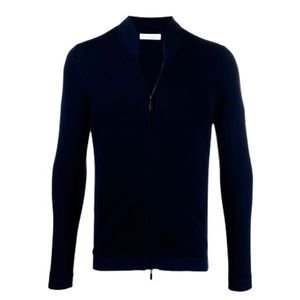 new Cruciani ❂ Luxury Fine Knit Zipped Cardigan Sweater ❂ Black ❂ Made in Italy